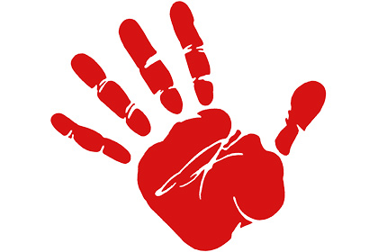 Red hand.